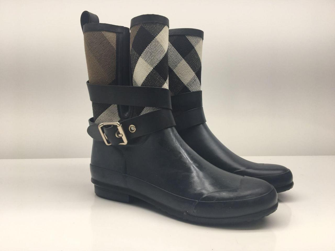 b84cb6a1e29 Burberry Black  holloway  Rain Boots Booties - Best Replica Shoes ...